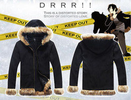 Wholesale Izaya Cosplay Coat - NEW DuRaRaRa Orihara Izaya Cosplay Anime Collars Men's Wear Coat Winter Thickening Velvet Zipper Hooded Fleece Fashionable Joker