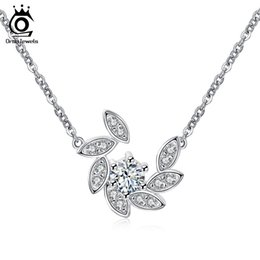 Wholesale Pave Link Chain Wholesale - Orsa Jewelry 100% 925 Sterling Silver Crystal Paved Pendants&Necklaces for Women Rhodium Color Fashion Jewelry SN36