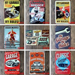 Wholesale Iron Art Car - Antique Iron Paintings 20*30cm Metal Tin Sign Car Repair Depot Iron Paintings Stays My Garage Service Tin Poster Personality Decoration Bar