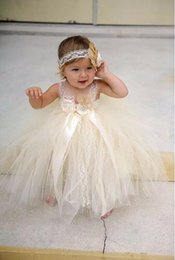 Wholesale Girls Baby Wedding Pageant Dress - champgne beaded lace newborn baby flower girls dresses 2017 spaghetti ball gown infant little girls pageant dresses formal for wedding