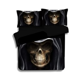 Wholesale High Quality D Black Skull Bed Set Fashion Patterns Design Bed Comforters Black Pces Comforter Sets Drop Shipping