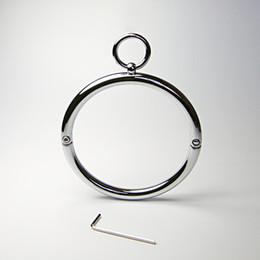 Wholesale Sex Necklaces - Latest Unisex Stainless Steel Neck Ring Collar Restraint Necklet Necklace Bondage Pins Locking Adult BDSM Sex Games Toy