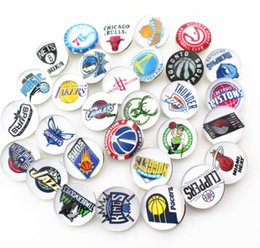 Wholesale Newest Necklaces - Newest Mix 32pcs 18mm sports basketball Team Snap Button For Snap Bracelet Necklace DIY Jewelry