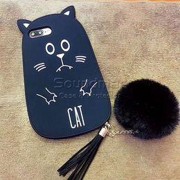 Wholesale Iphone Lion Cases - 3D Seal Lion Cartoon Soft Silicone Case With Pompon Tassel Pendant For iPhone X 8 6 6s 7 Plus Venonat Hanging drop Cover Case Opp Bag