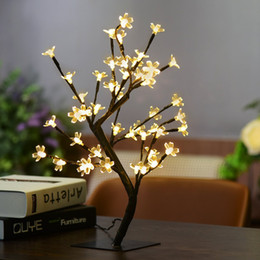 Wholesale Light Outdoor Trees For Christmas - 17.72Inch 48LEDs Cherry Blossom Desk Top Bonsai Tree Light Black Branches for Home Festival Party Wedding Christmas Indoor Outdoor Decoratio