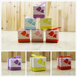 Wholesale Paper Gift Bags Orange - Laser Cut Unique Design wedding favors holder boxes with Double Loveheart Shape Ribbon party candy bags box gifts box wedding accessories