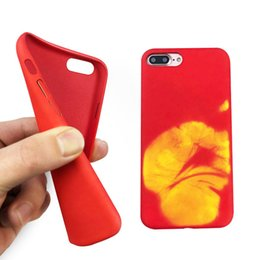 Wholesale Heat Changing - Thermosensitive Color change Case Magical PU Fingerprint Back Cover Temperature Sensing Thermal Sensor Heat Shell For Iphone 6 7 plus 7G