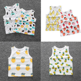 toddlers sleeveless t shirts Coupons - Ins Newest Kids Lovely Vest Fruit Printed Shirts Children Cotton t Shirts Toddler Summer Clothing Tees