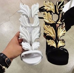Wholesale Shoes Brands Wings - LTTL Brand Shoes Design Cruel Summer Leaves Angle Wings Shoes Woman Buckle Strap Gladiator High Heels Sandals Women Gold Silver Yellow White
