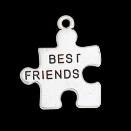 Wholesale Pendant Messages - Fashion Alloy Best Friends Puzzel Charms For Friendship Antique Silver Plated Message Pendant Charms 50pcs 24*25mm AAC1434