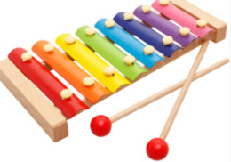 Giocattoli xilofono online-Kids Woode Eight Sounds su un'arpa 8 Notes Musical Toys Hand Knock Xylophone, un buon strumento musicale