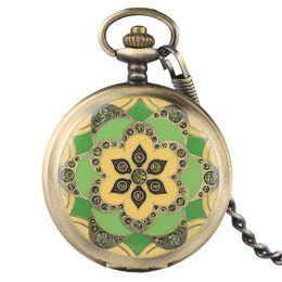 Wholesale Skeleton Hand Bags - Antique Bronze Mechanical Hand Wind Pocket Watch Flowers Crystal Hand Wind Fob Clock Men Women Skeleton Pendant Gift + Gift Bag
