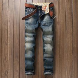 Wholesale Vintage Clothing Brands - 2017 Men Biker Moto Jeans Brand Clothing Male Vintage Designer Clothes Plus Size 29-38 Jean Pant Man Denim Trousers