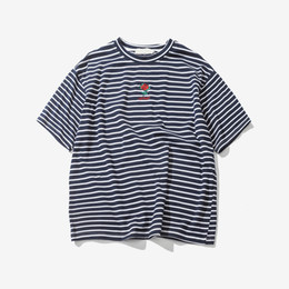 Wholesale Oversized Men Shirt - Rose Embroidery Striped Mens T-shirt Short Sleeve Summer Hi-street Oversized Hip Hop Tshirt Cotton Tee Shirts 2 Colors