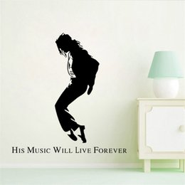 Wholesale Sticker Michael Jackson - 150x143cm Michael Jackson Silhouette Large Wall Sticker Removable Art Mural Decal for Home Decoration Children's Bedroom Kids Room