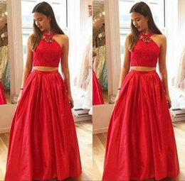 Wholesale Taffeta Lace Halter - 2017 Stunning Red Two Pieces Prom Dresses Halter Neck Sleeveless Crystals Lace Crop Top Open Back Floor Length Evening Party Gowns Formal