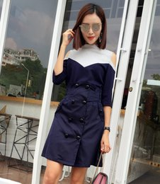 Wholesale Korean Dress Skirt Shirts - European and American ladies skirt T-shirt 2017 autumn new dress Korean collar Strapless color double breasted dress female fashion two