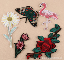 Wholesale Iron Fabric Flowers - Red Rose Butterfly Embroidered Sewing On Patch Flower Iron On Patch Stickers For Clothes Badge Sewing Fabric Applique Supplies LY