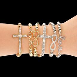 Wholesale Infinity Bracelet Rhinestone Cross - New Bracelet Women Handmade Gift Charm 8 Shape Jewelry Infinity Bracelets Men Gold Silver Chain Charm Bracelets Bangle For Women