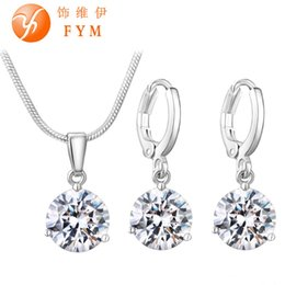 Wholesale Earring For 21 - 21 Colors Jewelry Sets for Women Round Cubic Zircon Hypoallergenic Copper Necklace Earrings Jewelry Sets Wholesale