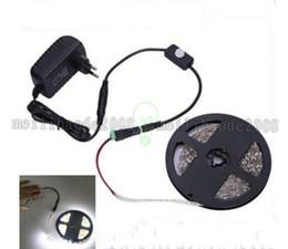 Wholesale Wired Sensor Led Light - Smart Led Strips PIR Sensor Switch SMD 3528 5M 300 Leds Cool White Warm Red Blue + 12V 2A Power Supply Smart Home LED Light MYY