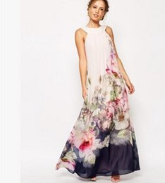 Wholesale Halter Maxi Dress Plus Size - 2017 Summer Floral Print Maxi Dresses Womens Beach Club Casual Loose Chiffon Sleeveless O Neck Long Plus Size Fashion Boho Clothes