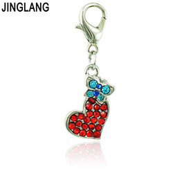 Wholesale Rhinestone Butterfly Charms - Fashion Red Charms With Lobster Clasp Dangle Rhinestone Heart Match Butterfly Pendants DIY Charms For Jewelry Making Accessories