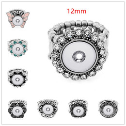 Wholesale Elastic Fashion Ring - NOOSA Chunk Fashion Elastic Rope Style DIY 12mm 18mm Snap Button Ring Interchangeable Ginger Snaps Jewelry For Women