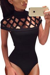 Wholesale Skinny Sleepwear - 2017 New Sexy Women Sleepwear Erotic Lingerie Plus Size Women Sexy Lingerie Hollow Out Shoulder High Neck Bodysuit