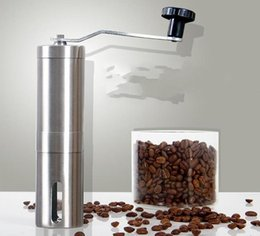 Wholesale Hand Grinders Coffee - Silver Stainless Steel Hand Manual Handmade Coffee Bean Grinder Mill Kitchen Grinding Tool 30g 4.9x18.8cm Home