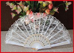 Wholesale Yellow Lace Fans - 100pcs lot free shipping plastic frame black lace fan,wedding lace fan,lace hand fan Wedding & Party Favors Gift