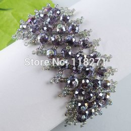Wholesale Violet Bead Bracelets - Wholesale- Free shipping Violet Crystal Faceted Beads Weave Adjustable Bracelet Jewelry Charm PK818