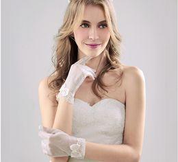 Wholesale High Fashion Wedding Gloves - Fashion 2017 High Quality Luxury Pearls Short Bridal Gloves White With Full Finger Wedding Gloves Wedding Accessroies g10