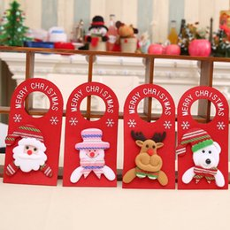 Wholesale Cartoons Hangings Doors - 2017 New Christmas door decorations cartoon door hanging snowman elk santa bear hotel door hanging decor