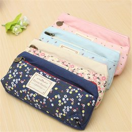 Wholesale Pencil Case Fabric Floral - boy girl kids Lovely Floral Pencil Cases Large Capacity Canvas Double Zipper Pencil Bag Students Stationery Office Supplies