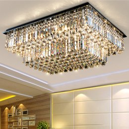 Wholesale High End Light Switches - Dimmable modern chandeliers high end K9 crystal led ceiling chandelier lights ceiling lamp living room bedroom hotel villa lighting forlight