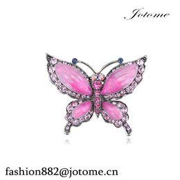 """Broche checo online-100 unids / lote 2.25 """"ancho x 1.75"""" altura rosa rosa cristal checo de diamantes de imitación broche pin mariposa pintado a mano esmalte"""