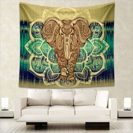 Wholesale Tapestry Religious - 12 Styles Indian Elephant Tapestry Aubusson Colored Printed Decor Mandala Tapestry Religious Boho Wall Carpet LivingRoom Blanket