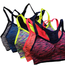 Wholesale Active Cup - Quick Dry Sports Bra Women Padded Wirefree Adjustable Shakeproof Fitness Underwear Push Up Seamless Yoga Running Tops