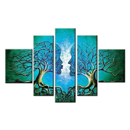 Wholesale Pictures Human Body - Blue Tree Human Body Modern 100% Hand Painted Stretched and Framed Artwork Contemporary Abstract Oil Paintings on Canvas Wall Art Ready to H