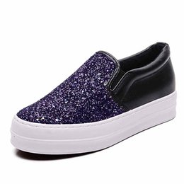 Wholesale Rubber Sole Shoes Materials - Free shipping 2017 women casual shoes Sequins Fashion Rubber sole Factory wholesale export Cloth material Flat heel Increase Wear-resistant