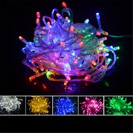 Wholesale Christmas Lights Window Decorations - AC220V 100 LED Fairy String lights 10 Meters 100LEDs Holiday Light Christmas Decoration Window Curtain Light