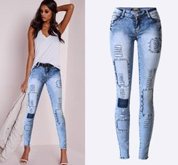 Wholesale Tight Sexy Jeans Woman - Wholesale- New Style Low Waist Sky Blue Patchwork Skinny Tights Women Pencil Jeans High Stretch Sexy Push Up Denim Women Fashion Jeans