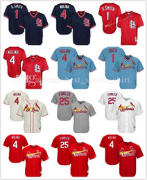 Wholesale Men Dexter - New Stitched Men's St. Louis Cardinals MLB 25# Dexter Fowler baseball Jerseys #4 Yadier Molina 1# Ozzie Smith Embroidery jersey hot sale