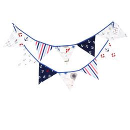 Wholesale Hot Festival - Children Birthday Decorate Triangular Flag Cotton Multi Function Kindergarten Festival Party Ornament Tool 12 Flags Hot Sale 14yf J