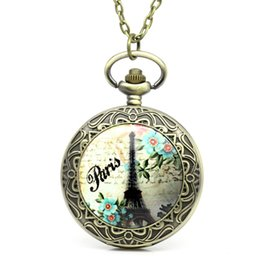 Wholesale Eiffel Tower Pocket Watches - Wholesale-2016 New 1PC Pocket Watch Eiffel Tower Carved W Battery 81.7cm B29779