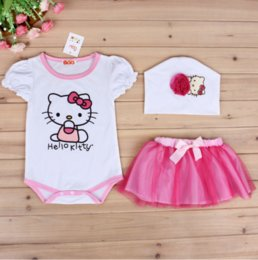 Wholesale Hello Kity Kids - Baby Girls Clothes HELLO kity romper + Flower skirt + hats 3pcs Pretty Flowered Cotton Kids Sets 2017 Summer Children Girl Clothing Set