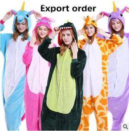 Wholesale Cartoon Stitch - Christmas Pajamas Unicorn Onesie Stitch Owl Unisex Flannel Pajamas Adults Cosplay Cartoon Animal Sleepwear Hoodie For Women Men Child Teens