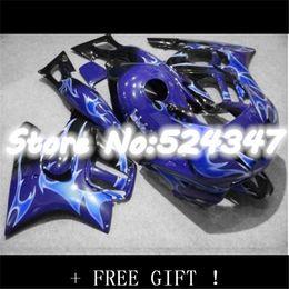 Wholesale F3 Body Fairings - flames blue in black ABS custom fairing for CBR600F3 97 98 CBR 600 F3 1997 1998 body kit