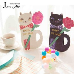 Wholesale Wedding Anniversary Invitation Cards - Wholesale- 5 pcs Cartoon Cat bouquet card stereoscopic envelope Invitation Valentines anniversary wedding love bithday party cards JY-385